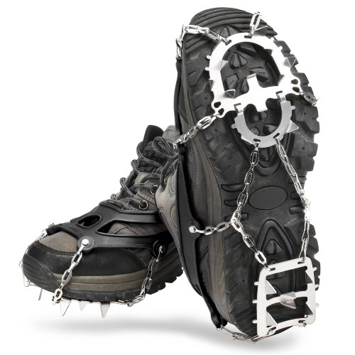 18 Spikes Traction Cleats Women Men Anti-slip Ice Snow Grips with Storage Pouch for Walking Hiking Fishing Mountaineering