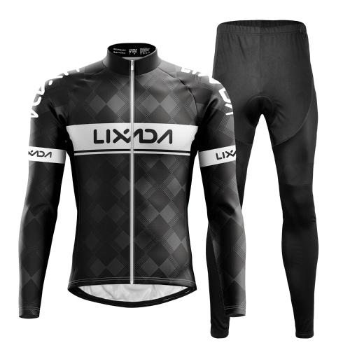 Lixada Cycling Clothing Set Windproof Long Sleeve Bicycle Jersey Jacket 3D Padded Pants Outdoor Cycling Running Sports Jacket Activewear Sportswear