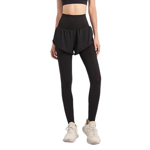 Женские спортивные брюки 2-в-1 с широким эластичным поясом и карманом до щиколотки Леггинсы для йоги Спортивные брюки для бега