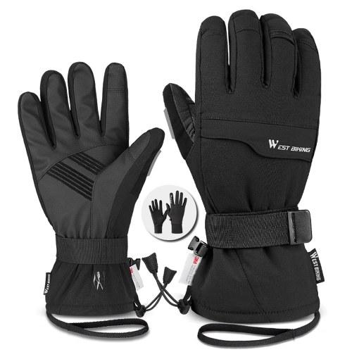 WEST BIKING Doppellagige dicke Handschuhe Skifahren Radfahren Motorräder Sporthandschuhe 3M Wasserdichte und kältesichere Handschuhe Winterhandschuhe für Männer und Frauen Touchscreen-Handschuhe