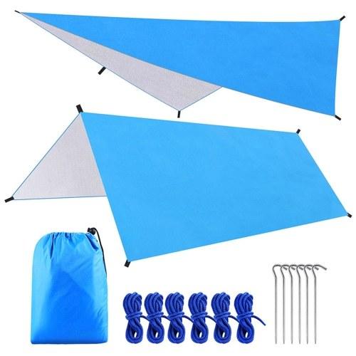 9.8 * 9.8ft Multifunctional Waterproof Camping Tarp Hammock Sunshade Tent Rain Shelter Lightweight Outdoor Tarpaulin Canopy for Camping Beach Picnic