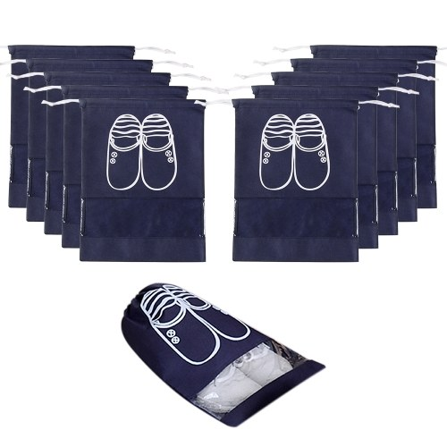 Saco de armazenamento de sapato com cordão não tecido de 10 pacotes