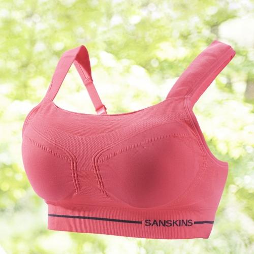 サンティック女性スポーツブラ フルカバレッジワイヤーフリー ランニング/ヨガのための下着 スイカ赤 xs