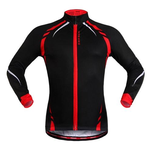 WOSAWE冬用の暖かいフリースジャケット/風コート/ロングスリーブジャージ ランニング/フィットネス/  エクササイズ/サイクリング/自転車アウトドアスポーツのために着用 M
