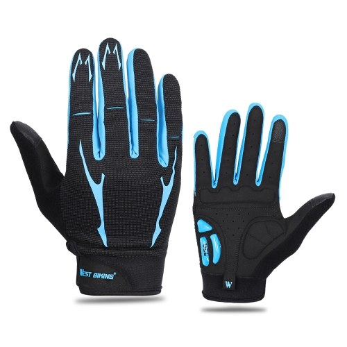 Mountain Bike Gloves Full Finger Touch Screen Gloves Anti-skid Cycling Gloves Wear-resistant Breathable Women and Men Gel Palm Mittens Shock-Absorbing MTB Gloves Road Bicycle Gloves Image