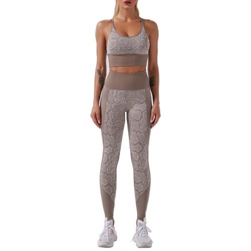 Women Workout Set Snakeskin Print 2 Pieces Bra Tights Suit Strapping Criss-cross Bra High Waist Leggings Sports Wear