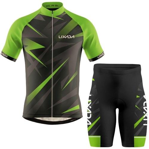 Lixada Men Cycling Jersey Breathable Short Sleeve Bike Shirt and Padded Shorts MTB Bicycle Clothing Suit Image