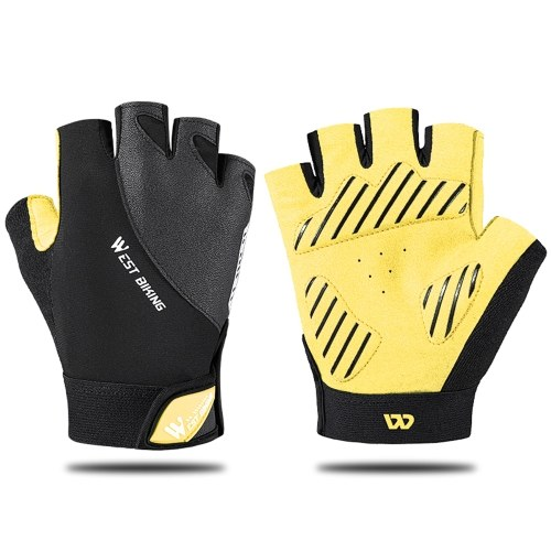 WEST BIKING Riding Reflect Light Glove Bicycle Half Finger Shock Absorbent Breathable Glove Cycling Glove Road Bicycle Glove Image