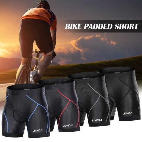Lixada Men Bike Padded Shorts with Anti-Slip Leg Grips Cycling 3D Padded Underwear Bicycle Padding Riding Shorts Biking Underwear Shorts