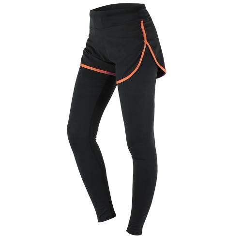 ARSUXEO Women's Gym Sport Yoga Leggings Fake Two Piece Slim Full Length Pants