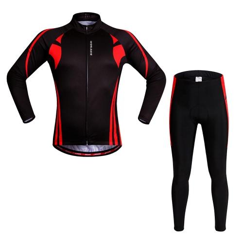 WOSAWE® Unisex traspirante Ciclismo asciugatura rapida full-zip manica lunga Jersey Pantaloni vestiti della bicicletta degli insiemi bici da corsa Mountain bike Outdoor Sports
