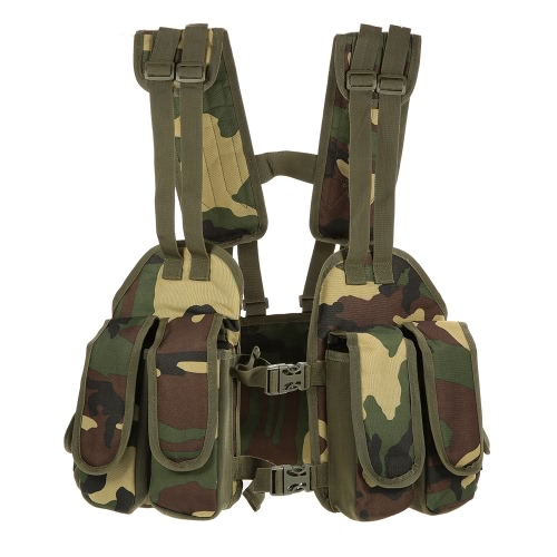 Tattica esterna Chest Rig regolabile imbottito modulare Military Vest Mag Pouch Magazine Holder Bag Piattaforma