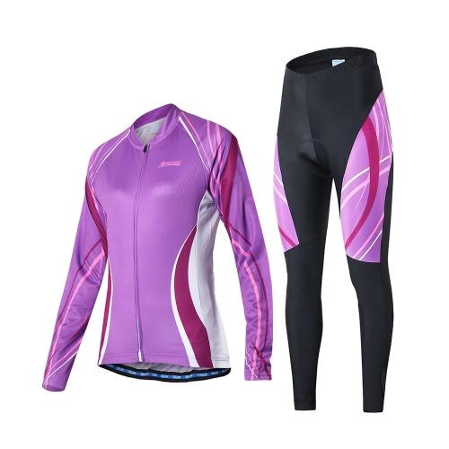 Outdoor comodo respirabile manica lunga ciclismo che coprono insieme Giacca ciclismo pantaloni imbottiti delle donne Arsuxeo equitazione sportivo