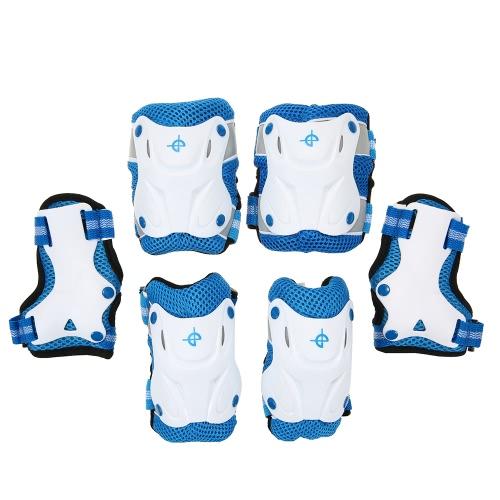 6PCS / Set 3 in 1 pattino protettivo del pattino dei bambini del ginocchio e dei gomiti del gomito Pattino di gomma del pattino del ghiaccio del pattino di bicicletta