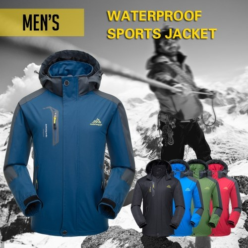 Lixada Men's Waterproof Jacket Windproof Ski Jacket Outdoor Hiking Traveling Cycling Sports Detachable Hooded Raincoats