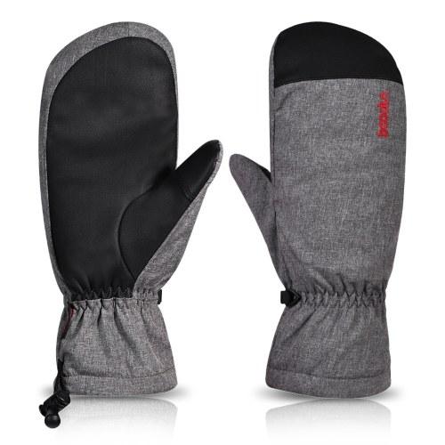 Luvas de neve para esqui de inverno, mulheres, homens, resistentes à água, touchscreen, luvas quentes com cordão para esqui snowboard esportes ao ar livre