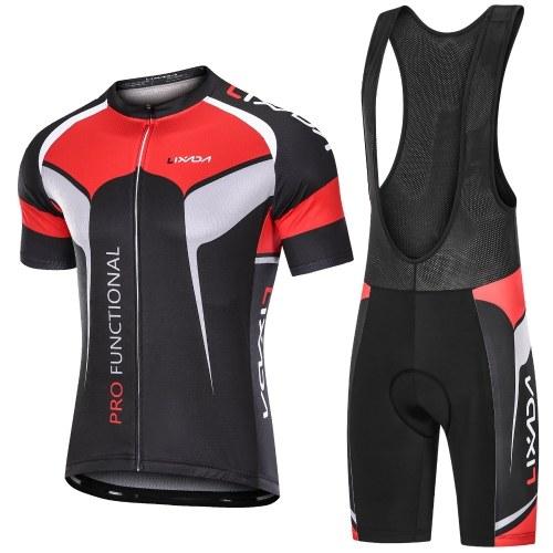 Lixada Men's Short Sleeve Cycling Jersey Padded Bib Short Set Breathable Quick-drying Cycling Cloth Set Image