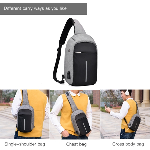 USB Charging Bag Sling Bag Pack Shoulder Chest Cross Body Backpack