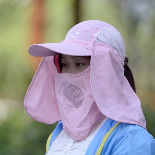 a25528e258f87 Windtour Sombrero de visera al aire libre con protección UV Cubierta del  cuello de la cara Gorro de protección solar de 360 grados