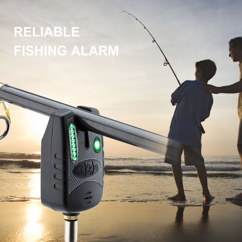 8 LED resistente al agua ajustable del tono del volumen de sensibilidad alerta de sonido pesca de la alarma de la mordedura por Caña de pescar