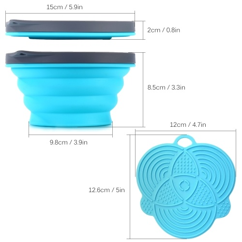 Silicone Collapsible Portable Bowl Expandable Bowl with Lid and Silicone Dish Sponge for Travel Camping Hiking