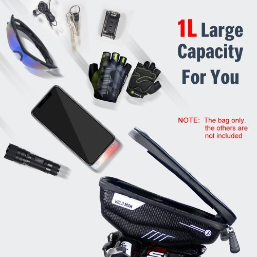 Bike Phone Bags with Touch Screen Phone Holder Case Waterproof Bicycle Front Frame Top Tube Mount Handlebar Bags Bike Storage Bag Cycling Pack Image