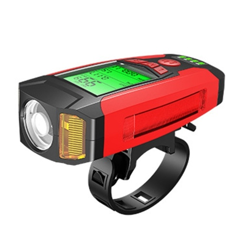 Bike Lights LEDs Cycling Headlight with 130dB Horn Bike Speedometer Speaker Calorie Counter USB Rechargeable 5 Light Modes for Outdoor Riding Cycling Image