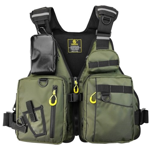 Fishing Life Jacket Multiple Pockets Floatation Vest Adults Buoyancy Waistcoat
