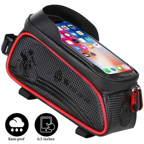 WEST BIKING MTB Road Cycling Waterproof Top Tube Bag Touch Screen Bicycle Front Frame Pannier Bag Image