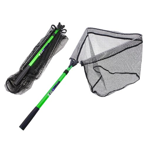 Folding Fishing Net Foldable Fish Landing Net Aluminum Telescopic Pole Handle Durable Nylon Mesh for Safe Fish Catching or Releasing Image