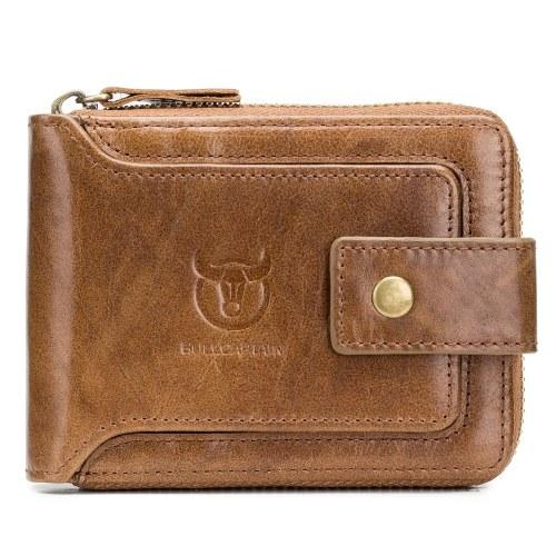 Carteira Bifold Zipper de Couro Genuíno para Homens RFID Safe Travel Purse Pouch Gift