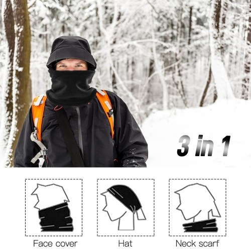 Double Layer Fleece Neck Gaiter with Drawstring Winter Sport Neck Warmer Scarf Beanie Hat for Cycling Fishing Skating Running Camping Hiking