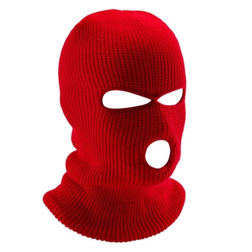 Thermal Face Mask Wind-proof 3 Hole Winter Knitted Cycling Mask Neck Warmer Motorcycle Under Helmet Lining Mask Caps Ultimate Thermal Retention Hat Full Face Cover Ski Mask