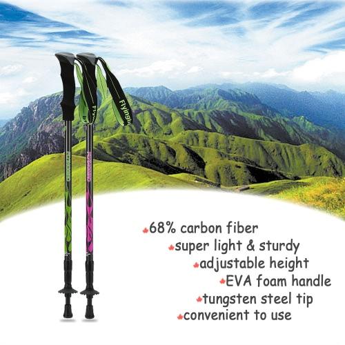 In fibra di carbonio leggera Trekking asta telescopica regolabile escursionismo bastone da passeggio 3 Sezione