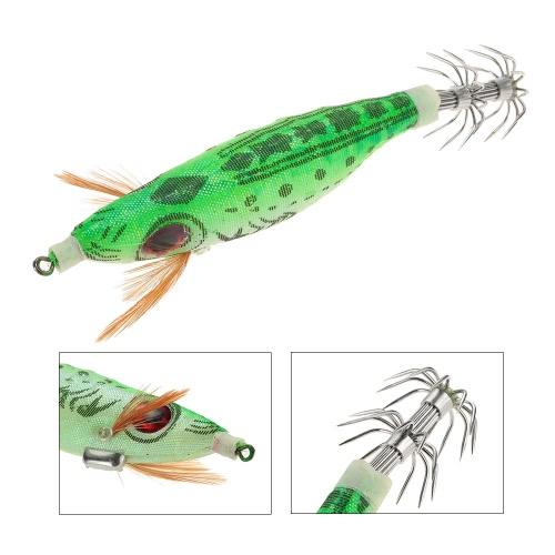 9 g / 10cm duro al aire libre del paño de cebo de pesca de la gamba envuelta PVC camarón cebos de pesca noctilucentes calamar fshing Lure Jig Hooks Corlorful
