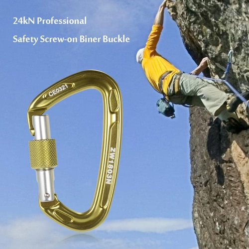 24kN sicurezza professionale a vite Biner fibbia in lega di alluminio moschettone per la sopravvivenza esterna Alpinismo Rock Climbing Speleologia Rappelling Rescue Ingegneria