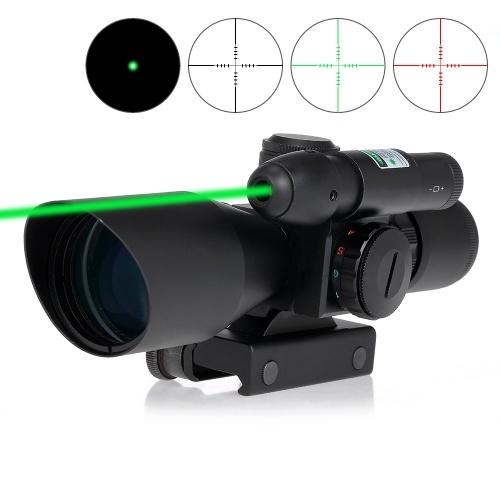 2.5-10X40 Riflescope Vert Rouge Double Réticule Illuminé Tactique Riflescope Mil-Dot Chasse Portée Vue