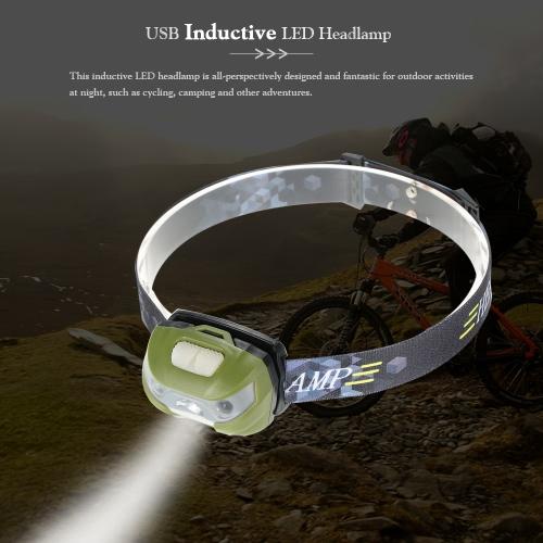 Открытый USB Светодиодные фары Фара водонепроницаемый светодиодный фонарик Индуктивный головной свет лампы
