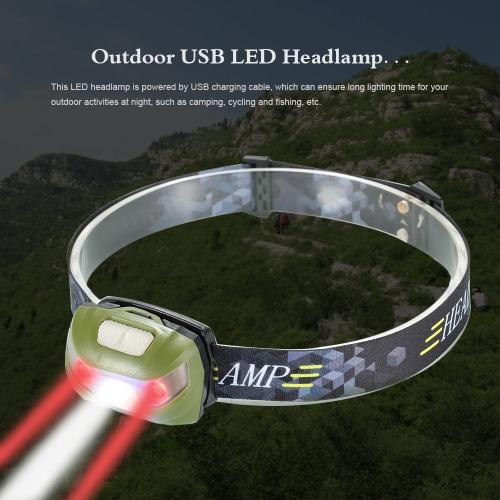 Linterna USB 3000LM LED al aire libre del faro del LED lámpara de luz de la cabeza para completar un ciclo pesca que acampa