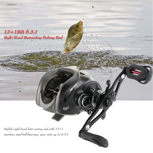 13 + 1BB 6,3: 1 Izquierda / Derecha Mano Baitcasting Carrete de pesca del bastidor de cebo de la rueda del carrete de pesca de bobina baitcast