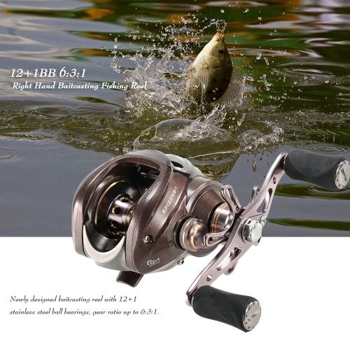 12 + 1BB 6: 3: 1 Sinistra / Destra Baitcasting Mulinello pezzo fuso di esca della bobina di pesca Baitcast bobina