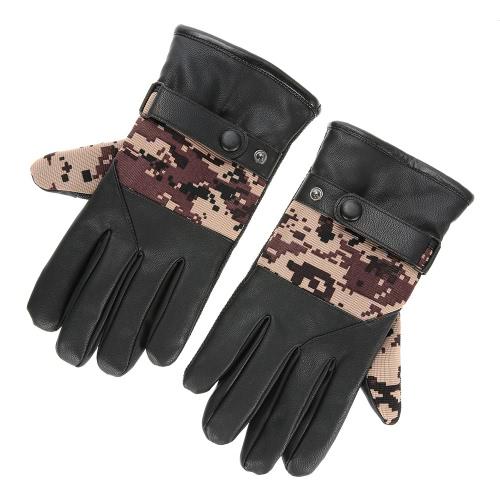 Guantes PU guantes de invierno guantes calientes al aire libre de la bici del montar a caballo de ciclo más cálido grueso hombre bicicleta de la bici