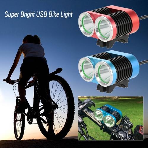 スーパーブライトUSB自転車ライト2400ルーメンの強力なダブルライト自転車サイクリングLEDの安全性フロントライトの懐中電灯防水