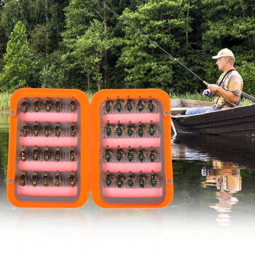 40шт Fly Fishing Lure Kit Сухая муха Флисы Приманки Крючки Перо Крыло для форели
