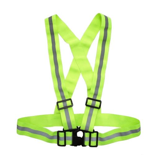 Deportes al aire libre chaleco reflectante ligero ajustable elástico de alta visibilidad Chaleco de seguridad de la correa de engranaje para Running Ciclismo Correr