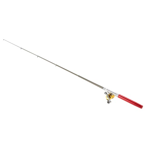 Canna da pesca Reel Combo Kit Set Mini telescopica portatile della tasca della penna di pesca Rod Palo + bobina lega di alluminio di pesca Accessori