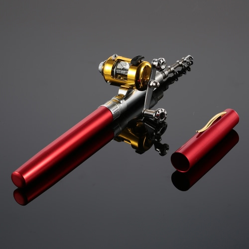Lixada Pen Fishing Rod Reel Combo Set Telescopic Pocket Fishing Rod Pole + Reel Aluminum Alloy Fishing Line Soft Lures Red