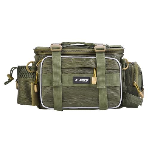 Multifuncional Tackle Fishing Bag Deportes al aire libre Solo bolso de hombro Crossbody Bag Waist Pack Señuelos de la pesca Tackle Gear Utility Storage Bag