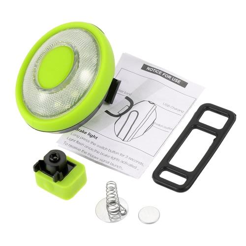 Lixada Bicycle Bike Brake Tail Light USB Rechargeable Smart Rear Safety Warning Bike Lights LED Rearlight for Night Rider Image