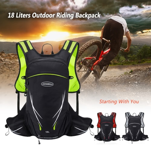 18L Water-resistant Breathable Cycling Bicycle Bike Shoulder Backpack Portable Outdoor Sports Riding Travel Mountaineering Hydration Water Bag with Rain Cover Y5082R
